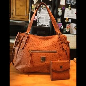 DB Brown Ostrich Embossed Leather Tote & Wallet